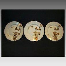 "3 - Fantastic Limoges Porcelain ~  6 ¾"" Cabinet Plates ~ Gold Embossed Foliage and Butterflies ~ Charles Field Haviland GERARD, DUFRAISSEIX, and MOREL Limoges France 1870-1890"