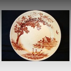 Wonderful Old French Faience Cabinet Plate ~ Decorated with Ducks, Boat & House ~ St Champeth E. C. Samaritane