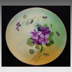 """50% OFF! Stouffer Studio Decorated ~ Limoges Porcelain Cabinet Plate ~ Hand Painted by """"Pfohl"""" ~ Purple Violets ~ Haviland France  / Stouffer Studio Chicago IL 1906-1914"""
