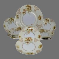 """Rare German Luncheon or Dessert Set ~ 12 Plates and 13 ½"""" Platter ~ Old Ivory VII ~ Clarion Mold ~ Hermann Ohme Silesia Germany 1900-1920"""