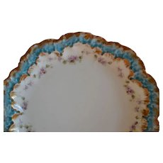 Limoges Porcelain Plate ~ Teal Rim~ Purple Flowers ~ A. Lanternier  Limoges France~ 1891-1914