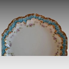 Limoges Porcelain Plate ~ Teal Rim~ Purple Flowers ~ A. Lanternier  Limoges France~ 1891-1914