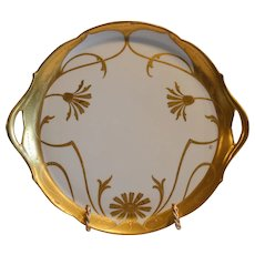 """Amazing 10 3/4"""" Tray ~ Limoges Porcelain~ Hand Painted with Gold Embossed Daisy Design by Franz Vobornik ~ Jean Pouyat Limoges France, Pickard Decorating Studios Chicago IL  1905-1910"""