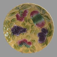 "Platters / Chargers 12"" W ~ Sarreguemines France Majolica 12"" Fruit  ~ DIGOIN AND VITRY-LE-FRANCOIS (Sarreguemines, France) – 1920-1950"
