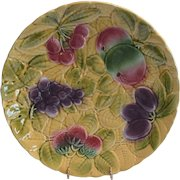 """Platters / Chargers 12"""" W ~ 2 avail ~ Sarreguemines France Majolica 12"""" Fruit  ~ DIGOIN AND VITRY-LE-FRANCOIS (Sarreguemines, France) – 1920-1950"""