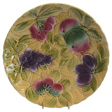 "Platters / Chargers 12"" W ~ 2 avail ~ Sarreguemines France Majolica 12"" Fruit  ~ DIGOIN AND VITRY-LE-FRANCOIS (Sarreguemines, France) – 1920-1950"