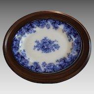"REDUCED! Platter ~ Flow Blue ~ Walnut Frame ~ 24"" x 20"" ~ Transfer of Anemones Flowers ~ 1800's"