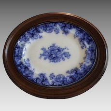 "REDUCED! Platter ~ Flow Blue ~ Walnut Frame ~ 24"" x 20"" ~ Transfer of Anemones Flowers ~ 1800's"