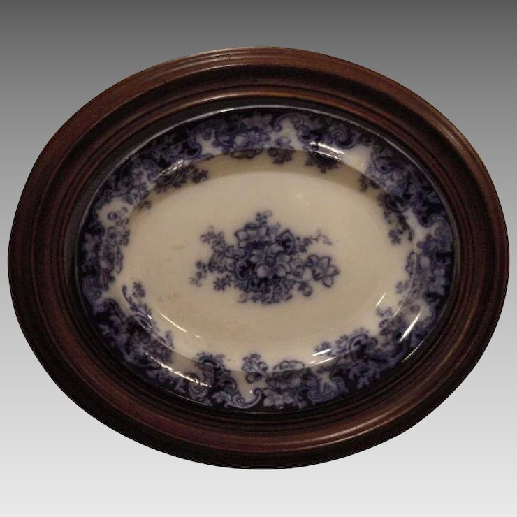 "Platter ~ Flow Blue Earthenware ~ Walnut Frame ~ 24"" x 20 ..."
