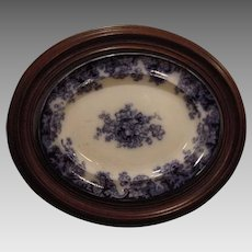 "Platter ~ Flow Blue  Earthenware ~ Walnut Frame ~ 24"" x 20"" ~ Anemones Flowers ~ 1800's"