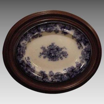 """Platter ~ Flow Blue  Earthenware ~ Walnut Frame ~ 24"""" x 20"""" ~ Anemones Flowers ~ 1800's"""