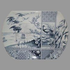 English Platter ~ Blue & White with Cranes and Bamboo Transfers ~ Bates, Gildea & Walker Burslem Staffordshire England 8/22/1883