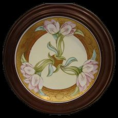 Beautiful Framed Plate ~ Art Nouveau ~ Hand Painted Pink Tulips ~ Signed ~Amphora - Red Tag Sale Item