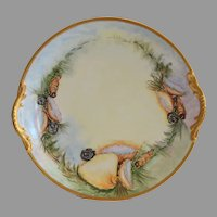 "TRAY / PLATTER ~ 13"" Limoges Porcelain ~ Sea Life & Sea Shell  –Artist Signed - Paroutaud Freres -1903-1907"