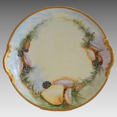 """TRAY / PLATTER ~ 13"""" Limoges Porcelain ~ Sea Life & Sea Shell  –Artist Signed - Paroutaud Freres -1903-1907"""