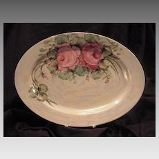 50% OFF!  Beautiful Bavarian Porcelain Platter 14'' ~ Hand Painted with Roses and Pearl Luster ~ Zeh Scherzer & Co 1880+