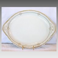 Amazing Austrian Porcelain Platter With Blue and Gold Decorations ~ Victoria Austria ~ 1904-1918