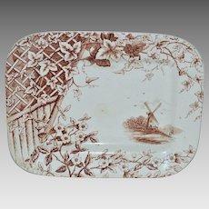 "Wonderful Antique English Aesthetic Brown Transferware ~ Windmill & Vines and Flowers ~ ""Victor"" Pattern ~ JOHN HEATH DAVIS Staffordshire, UK) - ca 1885"