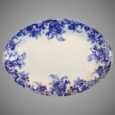"Platter ~ Old English Blue and White ~""Trellis"" Pattern~ W Adams & Co Tunstall England pre 1891"