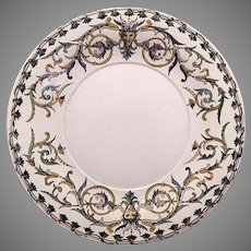 "Platter or Chop Plate~ 12"" French Faience / Majolica RENAISSANCE ~ Gien France1871-1875"