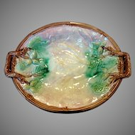 Amazing  11 1/2'' Majolica Two Handled Platter / Tray with Berries or Nuts ~ Unattributed England  ca 1880's