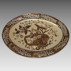 "Earthenware Platter ~ 14 3/4"" Wedgwood Brown Aesthetic  ~ Beatrice Pattern ~ Wedgwood & Co England 1880"