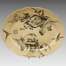 "Platter ~ 18 1/2"" ~with Birds, Butterflies,Berries, Flowers &  Mice ~ Powell, Bishop & Stonier  ~ P. B. & S. ~ Hanley Staffordshire  England 1880"