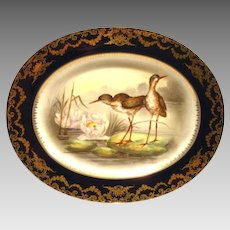 "Game Platter ~ 161/2"" ~ Limoges Porcelain ~ Hand Painted with Cobalt Rim & Shore Birds on Lily Pads ~ Artist 'Duches' signed ~  Delinieres & Co Limoges/ Bernardaud & Co Limoges France 1900-1922"