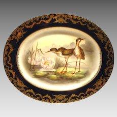 "Game Platter ~ 161/2"" ~ Limoges Porcelain ~ Hand Painted with Cobalt Rim & Shore Birds on Lily Pads ~ Artist 'Duches' signed ~  Delinieres & Co Limoges/ Bernardaud & Co Limoges France 1900-1922"