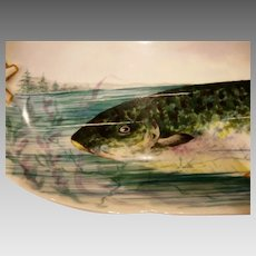 "Fish Platter ~Limoges Porcelain~ 25 3/8"" L ~ Hand Painted with an Amazing Fish in Net ~Artist Initialed and dated 1892~ Delinieres & Co Limoges France"
