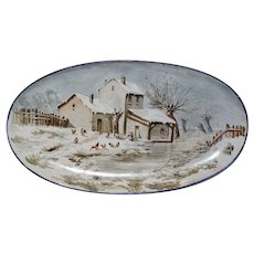 Wonderful Tin Glaze / Faience Platter ~Hand Painted Winter Scene with House & Chicken ~ Hautin & Boulanger  Choisy Le Roi France  1880