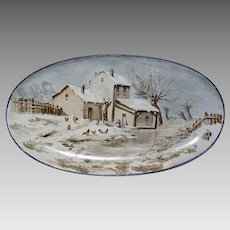 Wonderful Tin Glaze / Faience Platter ~Hand Painted Winter Scene with House & Chicken ~ Hautin & Boulanger  Choisy Le Roi France  1880