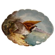 Wonderful Limoges Porcelain Game Plate ~ Hand Painted With a Quail in Flight ~ Artist MAX Signed ~ Theodore Haviland Late 1800's ~ Early 1900's