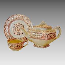 Aesthetic English Teapot, Cup and Saucer~ Kioto – Reddish Brown Transfer with Flora and Birds ~ Bates, Gildea & Walker Burslem Staffordshire England 11/24/1880