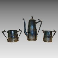 Coffee Pot, Sugar & Creamer Set ~ Sheffield Silver Plated ~ Art Deco ~1930's