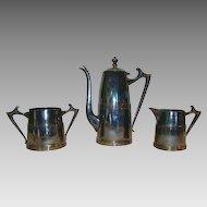 Coffee Pot, Sugar & Creamer Set ~ Sheffield Silver Plated ~ Art Deco ~1930's