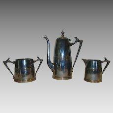 Cute Sheffield Silver Plated ~ Art Deco ~Coffee Pot, Sugar & Creamer Set 1930's