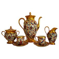 Amazing 9 piece Coffee Pot Set ~ Pickard Decorated ~ Bavarian Porcelain ~ Pot, Creamer & Sugar, 2 demitasse Cups & Saucers ~ Rosenthal Kronach Bavaria, Thomas Bavaria & Pickard Studios Chicago IL 1930-1938
