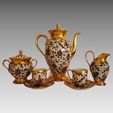 Amazing 9 piece Coffee Pot Set ~ Pickard Decorated ~ Bavarian Porcelain ~ Pot, Creamer & Sugar, 2 demitasse Cups & Saucers ~ Rosenthal Kronach Bavaria, Thomas Bavaria & Pickard Studios Chicago IL 1930-1938