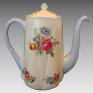 Gorgeous Shelley Bone China Coffee Pot ~ Dainty Shape ~ Floral Bouquets ~ Shelley England 1945-1966