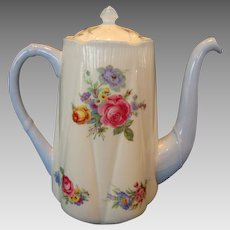 Gorgeous Shelley Bone China Coffee Pot ~ Dainty Shape ~ Floral Bouquets ~ Shelley England 1945-1966