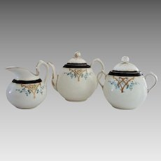 Dainty Limoges Teapot, Creamer and Sugar Set ~ Hand Painted with Art Nouveau Designs~ Haviland & Co Limoges France 1879-1883