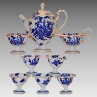 Gorgeous  Aesthetic Movement Tea or Coffee Pot Set ~ Pot, Creamer, Sugar & 5 Egg Cups ~ Blue Dragon ~ Royal Worcester Of England 1911
