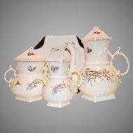 Exquisite Antique English Coffee / Tea Pot, Creamer and Sugar with Wild Flowers Sampson, Bridgewood & Son Staffordshire England 1885-1910