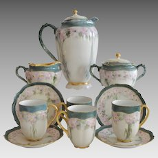 Exquisite Austrian Porcelain Chocolate Pot Set, Creamer &  Sugar, 4 Cups with Saucers ~ Hand Painted with Pink Flowers ~   Oscar & Edger Gutherz Royal Austria OEG	1899-1916