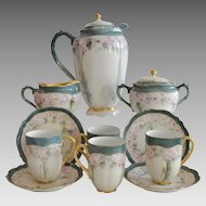 Porcelain Chocolate Pot Set, Creamer &  Sugar, 4 Cups with Saucers ~ Hand Painted with Pink Flowers ~   Oscar & Edger Gutherz Royal Austria OEG1899-1916