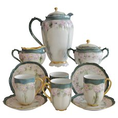 Porcelain Chocolate Pot Set, Creamer &  Sugar, 4 Cups with Saucers ~ Hand Painted with Pink Flowers ~   Oscar & Edger Gutherz Royal Austria OEG	1899-1916