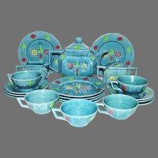 RARE  Majolica Tea & Dessert Set ~ Art Deco 22 Piece~ Turquoise with Colorful Geometric Designs ~ Georg Schmider – Zell Germany 1907-1928