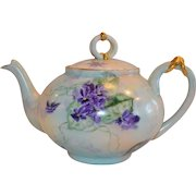 Limoges Teapot ~ Hand Painted with Violets ~ William Guerin  & Co  Limoges France 1900 – 1932