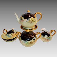 Limoges 7-piece Tea set.Teapot,Trivet, Creamer and Sugar Set ~ Hand Painted with Yellow roses~ Haviland France 1894-1931